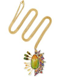 Daniela Villegas - Green 18-karat Gold, Sapphire And Beetle Necklace - Lyst
