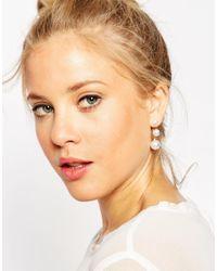 ASOS | Metallic Triple Faux Pearl Swing Earrings | Lyst