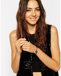ASOS - Blue Wrapped Semi Precious Cuff Bracelet - Lyst