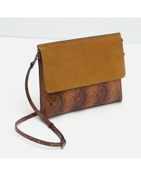 Zara | Natural Combined Clutch Bag | Lyst
