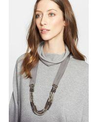 Fabiana Filippi - Gray Beaded Grosgrain Ribbon Necklace - Lyst