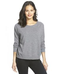 Eileen Fisher | Gray Boxy Bateau Neck Cashmere Sweater | Lyst