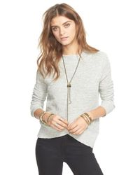 Free People | Gray Crossover Sweater | Lyst