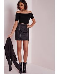 Missguided - Bardot Jersey Crop Top Black - Lyst