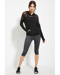 Forever 21 - Black Active Mesh-paneled Hoodie You've Been Added To The Waitlist - Lyst
