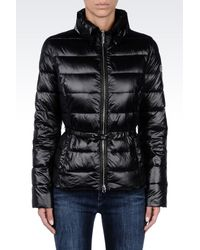 Armani Jeans | Black Down Jacket In Technical Fabric With Belted Waist | Lyst