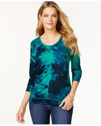Calvin Klein Jeans - Green Long-sleeve Printed Top - Lyst