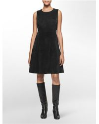 Calvin Klein | Black White Label Ultra Suede Sleeveless Fit + Flare Dress | Lyst