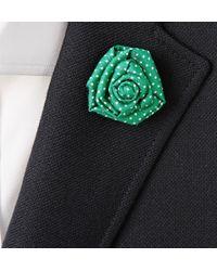Charvet | Green Polka Dot-Print Silk Lapel Flower for Men | Lyst
