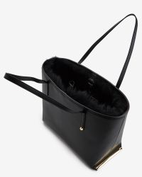 Ted Baker | Black Shearling Trim Leather Shopper Bag | Lyst