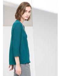 Mango - Green Wrap Neckline Blouse - Lyst