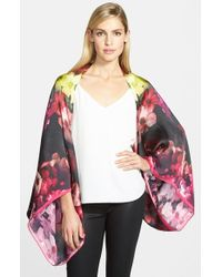 Ted Baker - Black 'cascading Floral' Silk Cape - Lyst