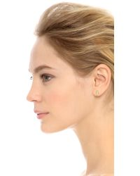 Rebecca Minkoff - Metallic Feather Ear Climber Mismatch Set - Gold/clear - Lyst