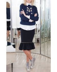 Alexis Mabille | Blue Navy Embroidered Epaulette Sweatshirt | Lyst