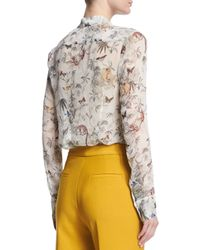 Adam Lippes - Multicolor Floral-print Button-down Silk Blouse - Lyst