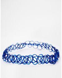 ASOS - Blue '90S Tattoo Choker Necklace - Lyst