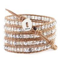 Chan Luu | Brown Grey Pearl Mix And Cloudy Quartz Wrap Bracelet On Beige Leather | Lyst