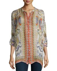 Johnny Was | Multicolor Feather-print Silk Button-front Tunic & Braided Long Tassel Necklace | Lyst