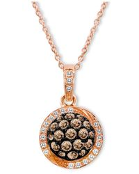 Le Vian | Pink Chocolate By Petite Chocolate Diamond (5/8 Ct. T.w.) And White Diamond Accent Pave Oval Pendant In 14k Rose Gold | Lyst