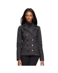 Ralph Lauren - Black Double-breasted Quilted Jacket - Lyst