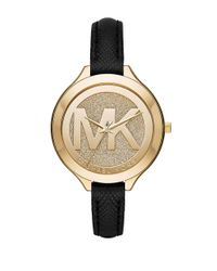 Michael Kors | Black Slim Runway Goldtone Stainless Steel Watch | Lyst