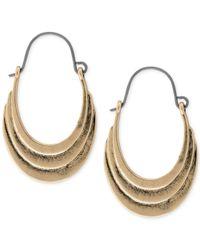 Lucky Brand - Metallic Gold-tone Antiqued Hoop Earrings - Lyst