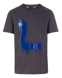 Lanvin - Gray Painted Initial Printed T-Shirt for Men - Lyst