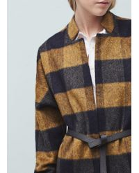 Mango - Blue Check Pattern Textured Coat - Lyst