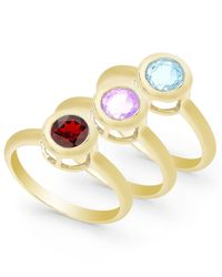 Macy's | Multicolor Multi-stone 3-piece Ring Set In 18k Gold Over Sterling Silver (2-3/4 Ct. T.w.) | Lyst