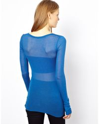 American Vintage - Blue Round Neck T-Shirt With Long Sleeves - Lyst