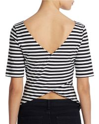 Guess | Gray Striped Crisscrossed Back Top | Lyst