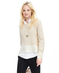 Banana Republic | Natural Cropped Cable-knit Pullover | Lyst