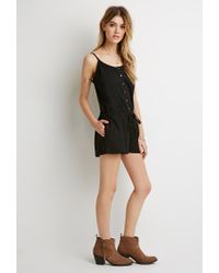 Forever 21 - Black Button-front Drawstring Romper - Lyst
