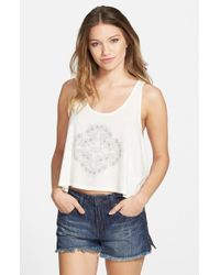 Volcom | White 'harvest Moon' Crop Tank | Lyst