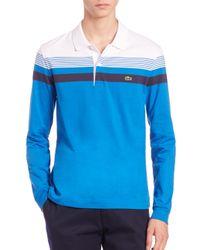 Lacoste - Blue Stripe Long-sleeve Polo Shirt for Men - Lyst