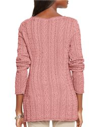 Lauren by Ralph Lauren | Pink Petite Cable-knit Cotton Sweater | Lyst