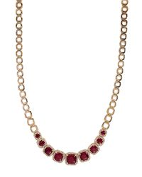 Effy - Red Rosa 14kt Rose Gold Ruby Diamond Necklace - Lyst