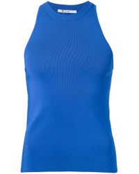 T By Alexander Wang | Blue Ribbed Tank Top | Lyst