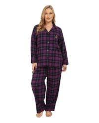 Lauren by Ralph Lauren | Purple Plus Size Folded Brushed Twill Pj | Lyst