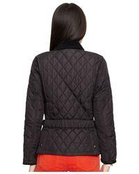 Polo Ralph Lauren | Black Suede-trim Quilted Jacket | Lyst