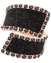 Guess | Pink Rose Gold-tone Black Stone Glitter Ring | Lyst