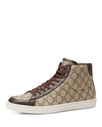 Gucci - Natural Brooklyn Gg Supreme Fabric High-top Sneaker for Men - Lyst