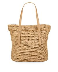 Saks Fifth Avenue   Brown Faux Leather-trimmed Paper Straw Tote   Lyst