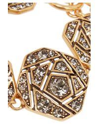 Oscar de la Renta | Metallic Gold-tone Crystal Bracelet | Lyst