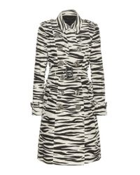 Burberry - Black Printed Cotton And Silk Trench Coat - Lyst