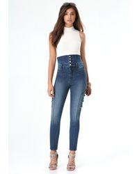 Bebe | Blue Denim Tuxedo Skinny Jeans | Lyst