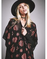Free People - Blue Womens Light Of The Moon Printed Kimono - Lyst