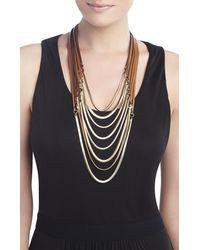 BCBGMAXAZRIA - Brown Faux-Leather Strap And Chain Necklace - Lyst