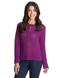 1.STATE | Purple Loose Knit Crewneck Sweater | Lyst