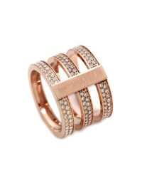 Michael Kors | Pink Tri Stack Open Pave Bar Ring Rose Goldclear | Lyst